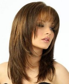 Vintage Hairstyles With Bangs Medium Brown Straight Human Hair Wigs - If you're looking for Medium Brown Straight Human Hair Wigs, HoWigs is the perfect choice. Order Human Hair Wigs at professional online shop. Layered Haircuts With Bangs, Haircuts For Long Hair, Layered Hairstyles, Trendy Hairstyles, Pixie Haircuts, Straight Hairstyles, Black Hairstyles, Layered Haircuts Shoulder Length, Vintage Hairstyles