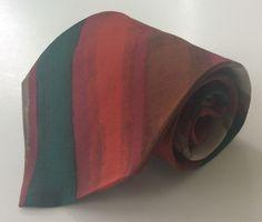 Alexander Julian Colours Neck Tie Red Green Burgundy Beige Stripe 100% Silk #AlexanderJulian #NeckTie