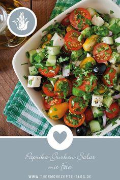 mit Feta Paprika-Gurken-Salat mit FetaFETA Feta is a type of cheese. Feta or FETA may also refer to: Feta Cheese Recipes, Salad Recipes, Healthy Salads, Healthy Recipes, Feta Pasta, Cucumber Salad, Antipasto, Grilling Recipes, Queso
