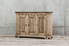 Coach Carved Walnut Wood Buffet with Iron Hardware Three Doors and Three Drawers