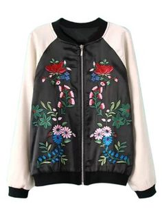 Shop Color Block Embroidery Floral Long Sleeve Bomber Coat from choies.com .Free shipping Worldwide.$40.99