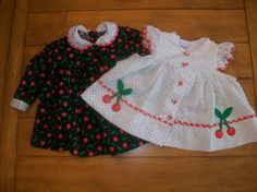 Vintage Nannette cherries dress and pinafore set.