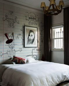 Unique Small White Dark Brown Bedroom With Golden Chandelier And Robots Mural Wallpaper