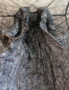 Chiharu Shiota, State Of Being, 2012. Mixed Media (Dress, Painting, Black Thread). 59 X 39 X 39 in.