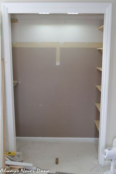 Make The Most Out of a Small Closet - Have a small Master Closet like we do? Make the most of it by rearranging and painting. (This is my husbands closet) [medi…