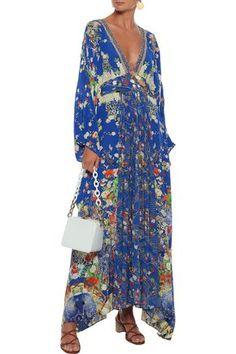 Camilla Woman Playing Koi Crystal-embellished Printed Georgette-paneled Washed-silk Maxi Dress Indig In Indigo Coat Dress, Jacket Dress, Camilla Clothing, Dress Outfits, Dresses, World Of Fashion, Beachwear, Indigo, Luxury Fashion