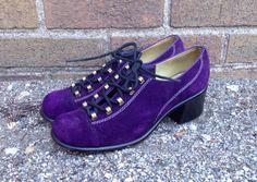 Vintage 60s 70s Mod Purple Suede Lace Up Oxford Platform Heel Shoes 7N GoGo #Fanfaresshoestrings #Heels