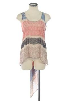 TAIL BACK LACE PRINT HIGH LOW CHIFFON TOP - Beige $16- Available on the DAKOTA JACKSON BOUTIQUE Facebook pg. LIKE us on Facebook!
