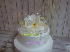 Wedding Cake Topper Frangipani Flowers & Organza Ribbons - White & Yellow