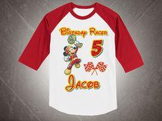 Mickey Roadster Racers Birthday Tshirt BaseBall , Mickey Roadster Baseball Birthday Shirt,  Personalized Party Raglan Tshirt by FunPartyDay on Etsy