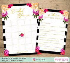 Bridal Shower - BINGO Printable Bridal Shower - Games Floral Bridal Party - Game…