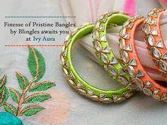 Finesse of Pristine Bangles by Blingles awaits you at Ivy Aura! Kundan Bangles, Silk Bangles, Bridal Bangles, Silk Thread Bangles Design, Thread Jewellery, Jewelry Crafts, Handmade Jewelry, Terracotta Jewellery, Bangles Making