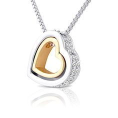 Double Open Heart Necklace- Two Tone Nesting Hearts Necklace with Crystals for Women, Girlfriend or Teens by SmitCo LLC http://www.amazon.com/gp/product/B00N2Z9VFA