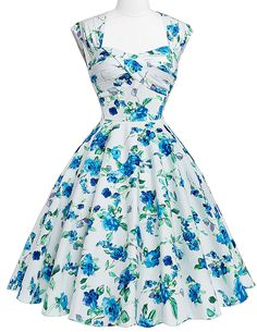 Elegant Blue Floral Flock Print 50s Rockabilly Retro Vintage Flared Dress