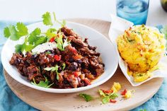 Texan pulled beef with chilli cornbread muffins
