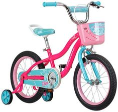 """Schwinn Elm Girl's Bike with SmartStart, Wheels, Pink Sports """" Outdoors. - If you receive an item and it doesn't work properly or you don't like it because of any reason at all. Bike With Training Wheels, Raleigh Bikes, 16 Inch Wheels, Mountain Bike Shoes, Balance Bike, Kids Bike, Bike Frame, Spice Things Up, Small Things"""