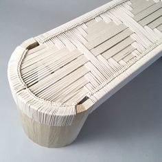 Euclid Bench - Hand woven seats in various colors of cotton by Peg Woodworking