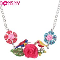 Find More Choker Necklaces Information about Bonsny Maxi Alloy Flower Bird Necklace Chain Enamel Jewelry Colorful Pendant 2016 New Fashion Jewelry For Women Statement Charm ,High Quality jewelry door,China jewelry nose Suppliers, Cheap jewelry findings pin backs from Bonsny Official Store on Aliexpress.com