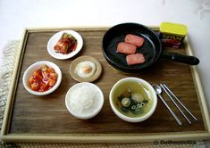 precious Asian foods with kimchi delicious Meal- Dollhouse Miniatures 1/12