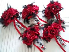 Package 15 piece Red Silk  Roses  In  Black And by modagefloral, $399.00