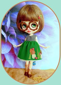 Adorable Mushroom dress for Blythe doll* 6 pieces* eyeglasses* shoe* hairclip*