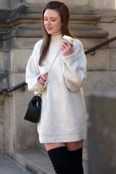 justmyself, fashionblog, strickleid zara, beige, overknees, herbstoutfit, winteroutfit, kleid im winter, winterlook, outfitinspo, outfitinspiration, streetstyle, streetwear, streetfashion