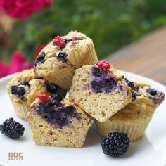 Blueberry Protein Muffins, Blue Berry Muffins, Food Blogs, Puffed Quinoa, Ground Almonds, Muffin Tins, Greek Yogurt, Vanilla, Dinner