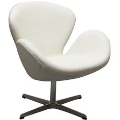 Arne Jacobsen Swan Chair in White Aniline Leather EEI-527-WHI by LexMod
