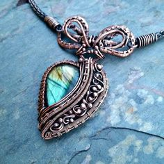 "Labradorite and Copper Necklace Named ""Presley"""