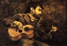 Dario de Regoyos Playing the Guitar - Theo van Rysselberghe