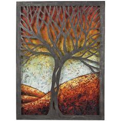 "ELK Lighting Whitney Autumn Tree 37"" High Rust Metal Cut-Out Wall Art ($238) ❤ liked on Polyvore featuring home, home decor, wall art, backgrounds, art, pictures, painting, borders, picture frame and red"