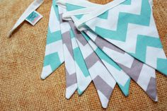 Chevron Fabric Flag Bunting Photo Prop Nursery by StarlitNestGifts Chevron Fabric, Teal And Grey, Gray, Elephant Birthday, Party Flags, Decoration Party, Bunting, Photo Props