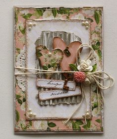 Beautiful shabby chic card with flowers, twine, key charm and pearl embellishments