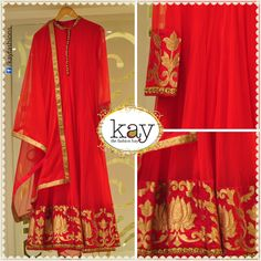 A sure-fire way to steal the show at special occasions is to wear bright colours. This red with minimal yet bright gold designed full sleeved anarkali will do just that! The dupatta is netted with a thin gold strip in the border. http://www.kayfashions.in/#!/ #fashion #indian #weddings #bridal #lehenga #ghagra #anarkali #salwar #designer #ethnic #boutique #chennai #shopping #triplicane #dress #clothes #traditional #saree #sari #silksaree