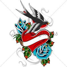 Afbeeldingsresultaat voor hart vogel tattoo