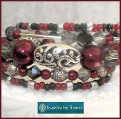 Burgundy Pearl Crystal Bracelet Jet Hematite by JewelryByScotti