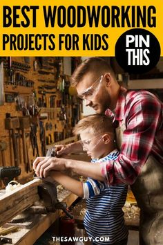 Woodworking can be an activity you can bond over with your kids. Click on for 26 of the best woodworking projects that are kid-friendly. Many of these projects do not require fancy power tools. Enjoy! #thesawguy #woodworking #diyforkids #projectsforkids #easywoodworking #woodworkingforkids #woodworkingforbeginners