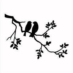 Two Birds on Branch - Reusable STENCIL- 5 Sizes Available- Wall Stencil- Create Pillows and Cottage Signs! Wall Stencils Two Birds on Branch Stencil Design / wide x Tall Signs Bird Stencil, Stencil Art, Damask Stencil, Sign Stencils, Stencil Patterns, Stencil Designs, Cottage Signs, Favorite Paint Colors, Bird Silhouette