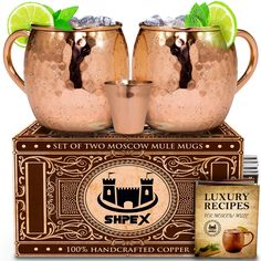 100% Solid Copper Moscow Mule Set by Shpex: 2 Handmade Hammered 16 Oz Mugs with Handles Plus Matching Shot Glass and Recipe Book in Colored Gift Box
