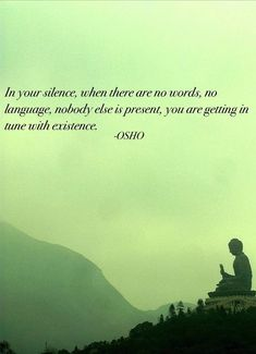 Love your silence, it's where you get in tune with #existence #osho #quote