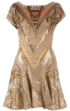 Matthew Williamson Gold Embellished Dress
