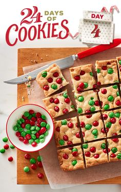 One of our most popular recipes from last Christmas is back, and it's still as good as you remember! Topped with festive M&Ms and made easy with cookie mix and white chocolate baking chips, these impressively easy bars are oven-ready in 10 minutes. Tip: If you love these bars, swap out the M&Ms for seasonal colors and make them all year-round!