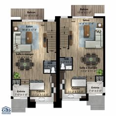 Plan du modèle Duplex Plans, Townhouse Designs, Contemporary House Plans, Town House, Village Houses, Floor Plans, Construction, Interiors, Flooring