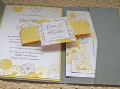 Pocketfold Wedding Invitation in Grey and Yellow. $4.00, via Etsy.