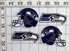 Seattle SEAHAWKS NFL Iron On Fabric Applique No Sew 4pc set with helmets #HandmadeIronOnNOSew #SeattleSEAHAWKS