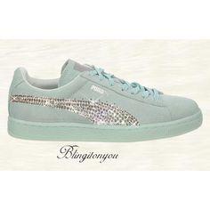 New Swarovski Women's Puma Suede Classic Shoes Custom