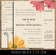 Rustic Wedding Invitation - Floral, Invitation suite | In or Out Media