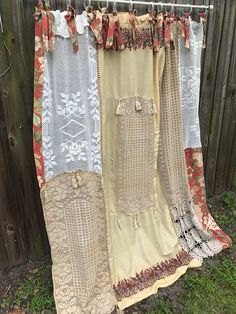 Shabby Chic Shower Curtain Curtain Bathroom Home Decor Nordic Chic Boho Decor Vintage Crochet Vintage Fabrics