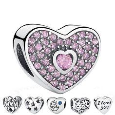 Cheap 925 Sterling Silver Love Crystal Calado Charm Colgante Fit Pandora Original Pulsera Brazalete de Accesorios de La Joyería DIY Making, Compro Calidad Encantos directamente de los surtidores de China: