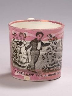 STAFFORDSHIRE MOTTLED PINK LUSTRE AND BLACK TRANSFER-PRINTED CHILDREN'S MUG, CIRCA 1815-25.